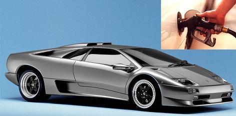Lamborghini Diablo fuel consumption, miles per gallon or litres - km