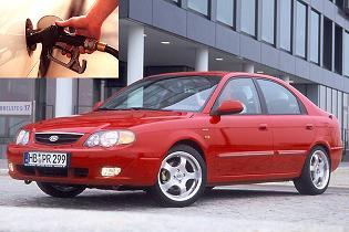 Kia Shuma fuel consumption, miles per gallon or litres - km